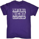 123t Slogans 123t Men's Party All Night Sleep All Day (L - ) T-SHIRT