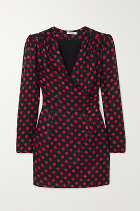 RE/DONE Polka-dot Silk-satin Jacquard Wrap Mini Dress - Red
