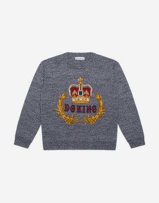 Dolce & Gabbana Crew Neck Wool Sweater With Crown Embroidery