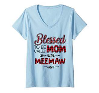 Womens Blessed To Be Called Mom And Meemaw Caro Christmas V-Neck T-Shirt