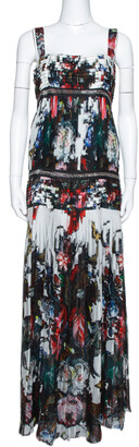 Roberto Cavalli Multicolor Floral Printed Silk Chain Embellished Pleated Maxi Dress M