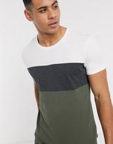 Esprit basic color block t-shirt in multi