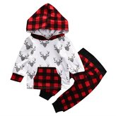 honeys Baby Boy Girl 2pcs Christmas Suit Hoodies Deer Print Long Sleeve Top+Plaid Pants (12-18months, )