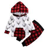 honeys Baby Boy Girl 2pcs Christmas Suit Hoodies Deer Print Long Sleeve Top+Plaid Pants (6-12months, )