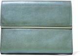 Maison Margiela Metal-trimmed metallic textured-leather clutch