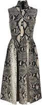 Prada Printed Pussybow Flared Dress