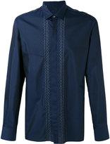 Lanvin embroidered lines shirt - men - Cotton/Silk - 37