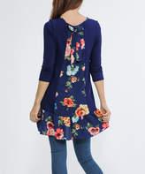Celeste Navy Floral Ruffle-Hem Three-Quarter Sleeve Tunic