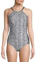 Calvin Klein Highneck Snake-Print Swimsuit