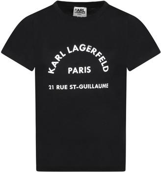 Karl Lagerfeld Paris Black T-shirt For Kids With Logo