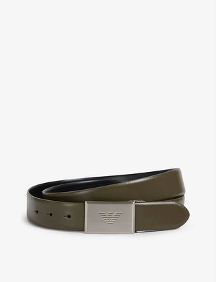 Emporio Armani Brand-embossed buckle leather belt