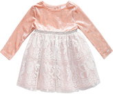 Youngland Pink & Ivory Lace-Skirt Long-Sleeve Dress - Toddler & Girls