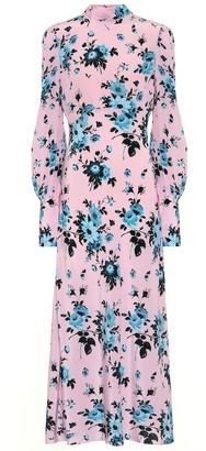 Les Rêveries Floral silk-crepe dress