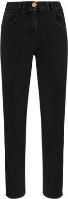Balmain High-Waist Slim-Leg Jeans