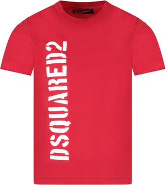 DSQUARED2 Red Boy T-shirt With Logo
