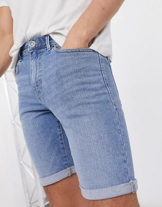 New Look skinny denim shorts in mid blue