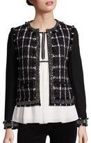 Tory Burch Marisol Embellished Tweed Plaid Jacket