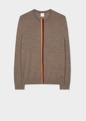 Men's Taupe Merino Sweater With Central 'Artist Stripe'