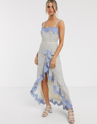 We Are Kindred argentina embroidered ruffle maxi dress