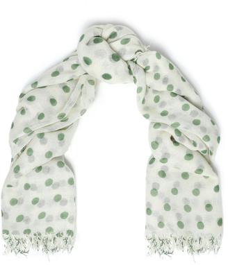 Chan Luu Frayed Polka-dot Cashmere And Silk-blend Scarf
