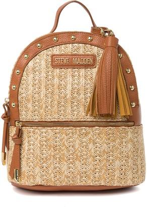 Steve Madden Dome Straw Studded Backpack
