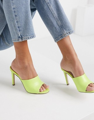 Call it SPRING vegan-friendly Sunningdale mule heel sandal in yellow