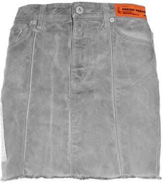 Heron Preston Grey Wash Denim Skirt
