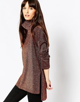 Asos Knit Tunic With High Neck In Metallic
