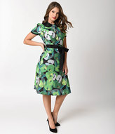Unique Vintage 1940s Style Green Apple Print Short Sleeve Collar Flare Dress