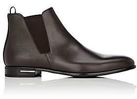 Prada Men's Saffiano Leather Chelsea Boots - Brown