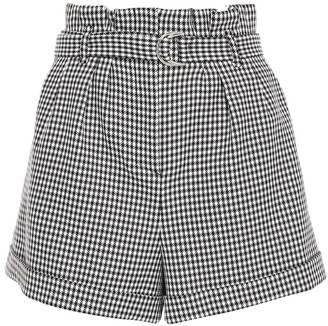 Maje Belted Houndstooth Twill Shorts