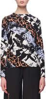 Proenza Schouler Spiral Graffiti-Print Long-Sleeve Cotton T-Shirt, Purple