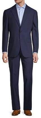 Saks Fifth Avenue Windowpane Tailored-Fit Wool Suit