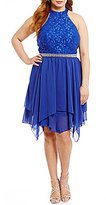 Jodi Kristopher Plus Mock Neck Glitter Lace Bodice Handkerchief Hem Dress