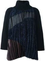 Kolor contrast panel pleated front knit top