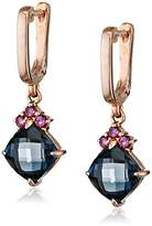 Fiorelli Gold Rose Gold London Blue Topaz and Rhodolite Garnet Earrings