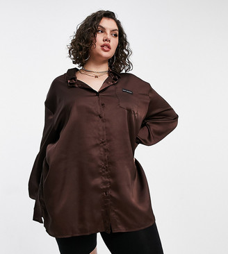 Public Desire Curve relaxed satin night shirt with embroidered pocket in chocolate