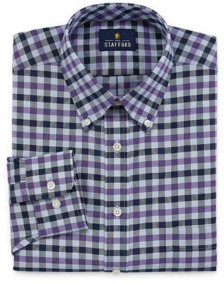 STAFFORD Stafford Travel Wrinkle-Free Stretch Oxford Mens Button Down Collar Long Sleeve Dress Shirt