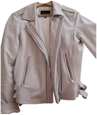 Aridza Bross White Leather Leather Jacket for Women