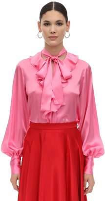 MSGM Pm Ruffled Satin Shirt