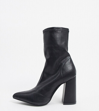 Truffle Collection wide fit heeled sock boots in black