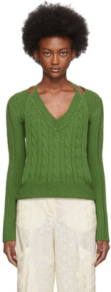 Jacquemus Green La Double Maille V-Neck Sweater