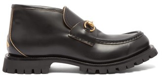 Gucci Bee-embroidered Leather Loafers - Black