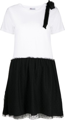 RED Valentino point d'esprit two-tone dress