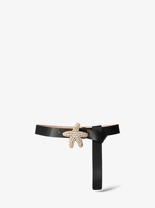 Michael Kors Starfish Embellished Calf Leather Belt