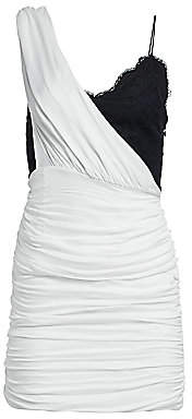 Alice + Olivia Women's Bianca Ruched One-Shoulder Stretch Silk Mini Dress