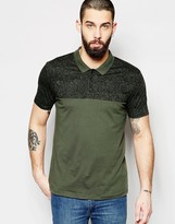 Asos Jersey Polo With Marble Print In Khaki