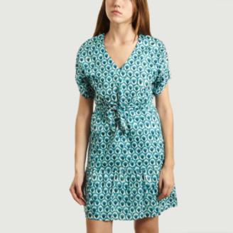 Tinsels - Aqua Blue Olga Floral Pattern Dress - aqua blue | small