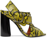 3.1 Phillip Lim Patsy Studded Snake-effect Leather Sandals - Yellow