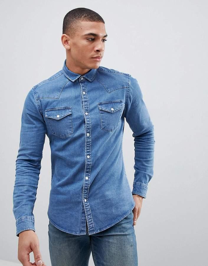 Asos DESIGN skinny western denim shirt in mid wash